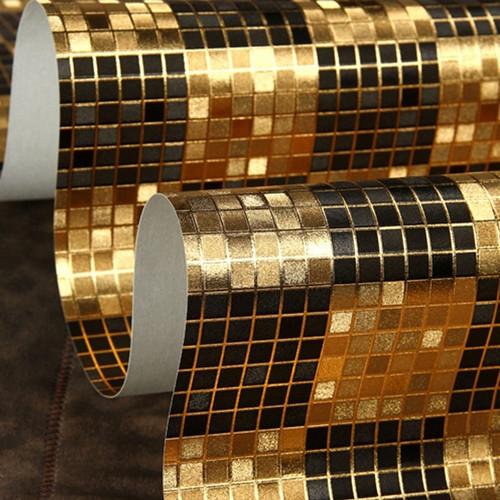 Buy moderno black gold mosaic metallic - Papel de pared moderno ...