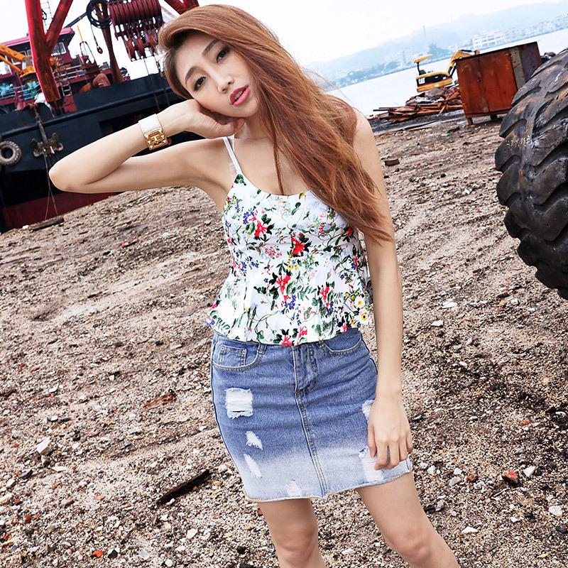 2016 Summer New arrival Light Colour Holes Gradual Change Cowboy Skirt New Product Women's Skirt 9573(China (Mainland))