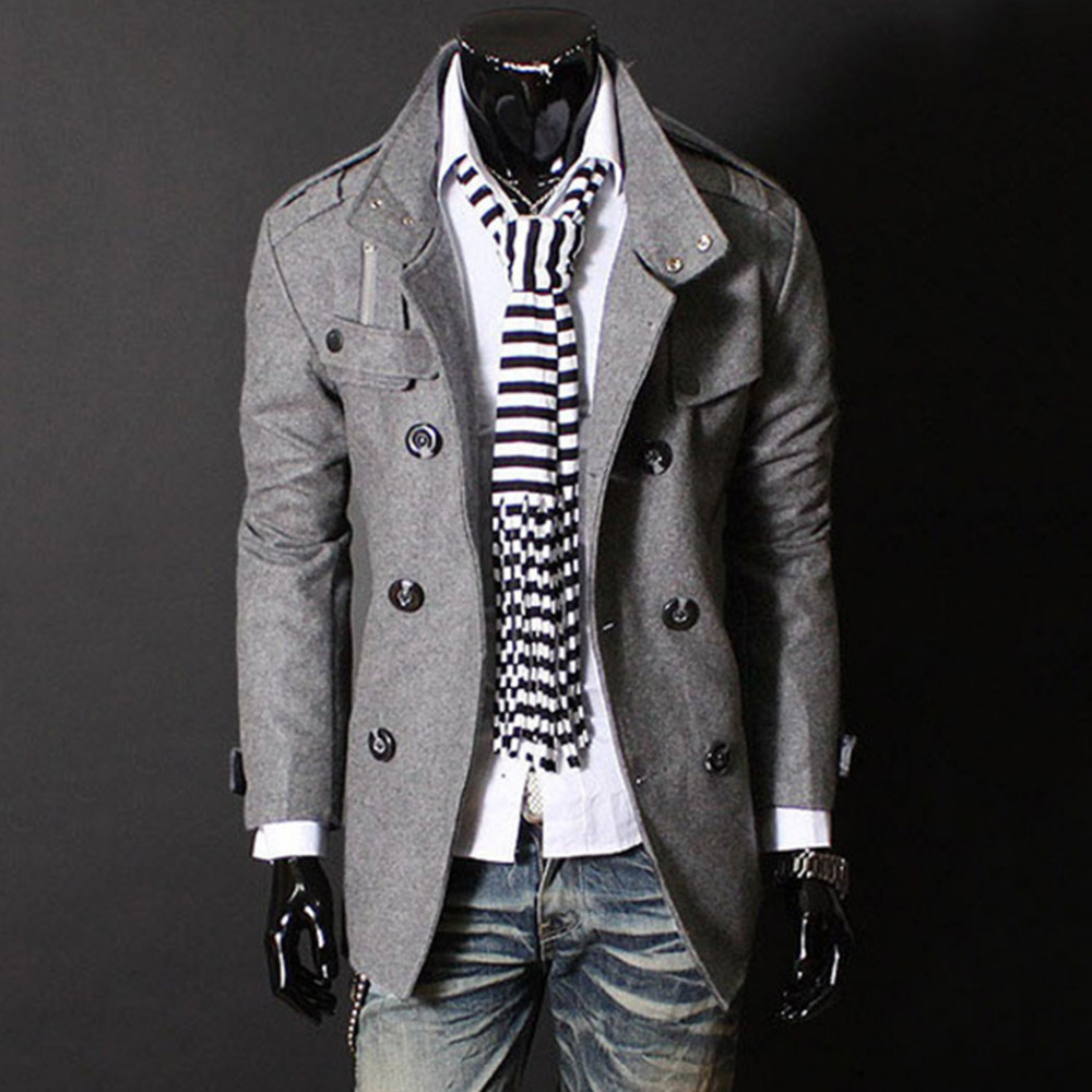 Men Coat Stand Collar Double Breasted Solid Classic Top Deasigned Slim Fit Male Pea Coat Winter Jacket