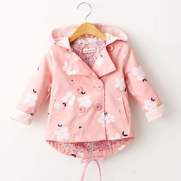 Fashion Print 2~6Y Girls Jackets coats with hooded Spring Flower Trench Outerwear for Kids children hoodies manteau fille HC107<br><br>Aliexpress