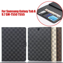 Business plaid style PU Leather Case for samsung GALAXY Tab A 9.7 T550 T555 T551 tablet Cover Stand with card slot S4A59D