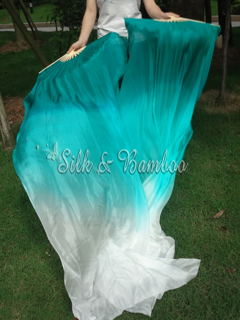 "peacock green fading, 1pc right+1 pc left 1.8m*0.9m(71""*35"") hand painted belly dance silk fan veil, real flowy silk(China (Mainland))"