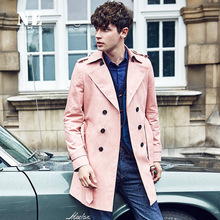England Noble Mens Spring/Fall Double Breasted Long Pink Trench Coat Men British Slim Fit Top Quality Trenchcoat Gifts Overcoats(China (Mainland))