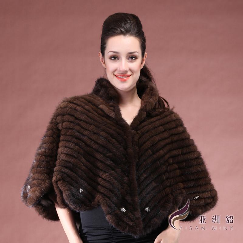 ZDFURS 2016 Winter Women's Knitted Mink Fur Cape Fur Outerwear Fur Shawl Bride Dressing OEM 1295