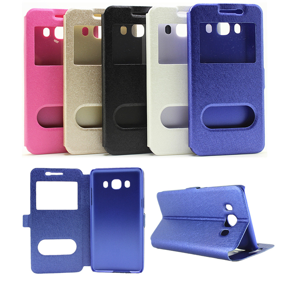 View window silk grain Flip Stand PU leather Case For Samsung Galaxy J5 2016 J510 J510F / J7 2016 J710 Moblie Phone Bag YT(China (Mainland))