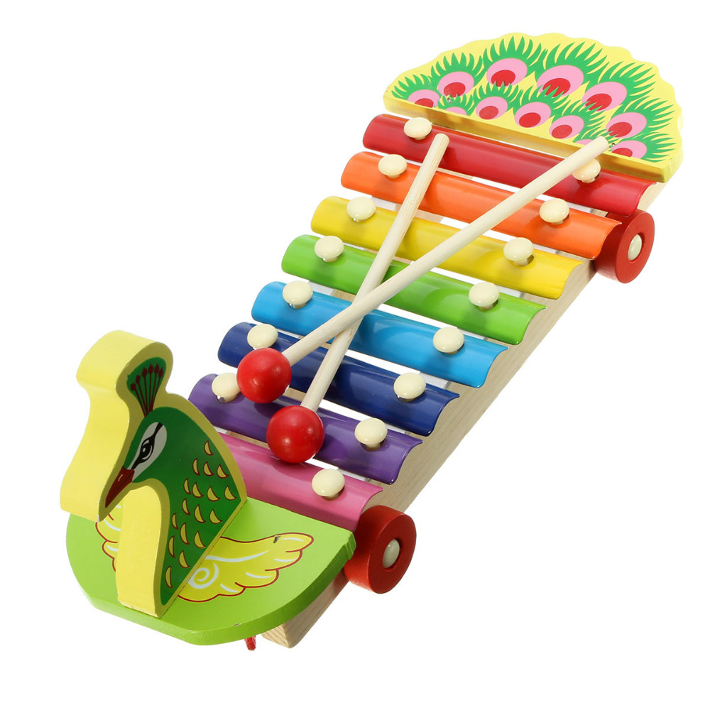 New Children Wooden Toys Peacock Hitter Knock Piano Wooden Puzzle Educational Toys Music Toys For Kids(China (Mainland))