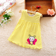 100 Cotton Summer Retail Baby Girls Dress Infant Clothing Sleeveless Printed Embroidery Baby Girl Dress Summer
