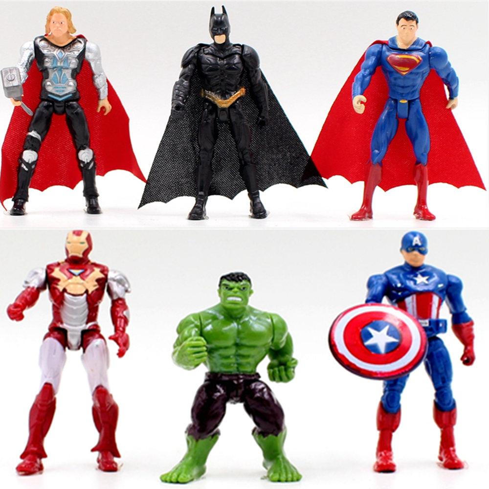 Free shipping 1pcs superhero Avengers Iron Man Hulk Captain America Superman Batman Action gift collection of children's toys(China (Mainland))