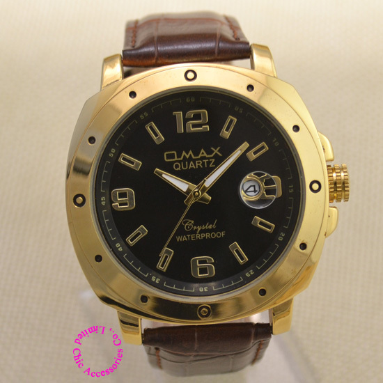 luxury man waterproof quartz gold watch 2015 new omax men fashion wristwatch small dial golden color brown dial brown black hour<br><br>Aliexpress