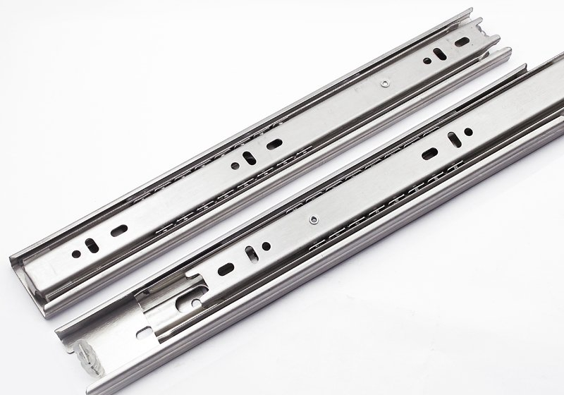 Stainless steel three drawer slide rail linear guide ball silent thick heavy metal computer desk accessories(China (Mainland))