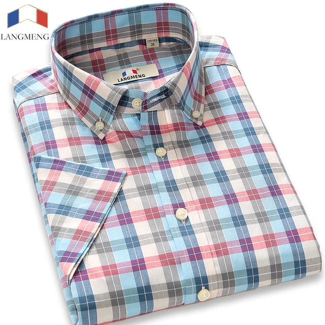 Langmeng 2016 новый бренд 100% хлопок плед мужчины рубашка повседневная лето мужской ...