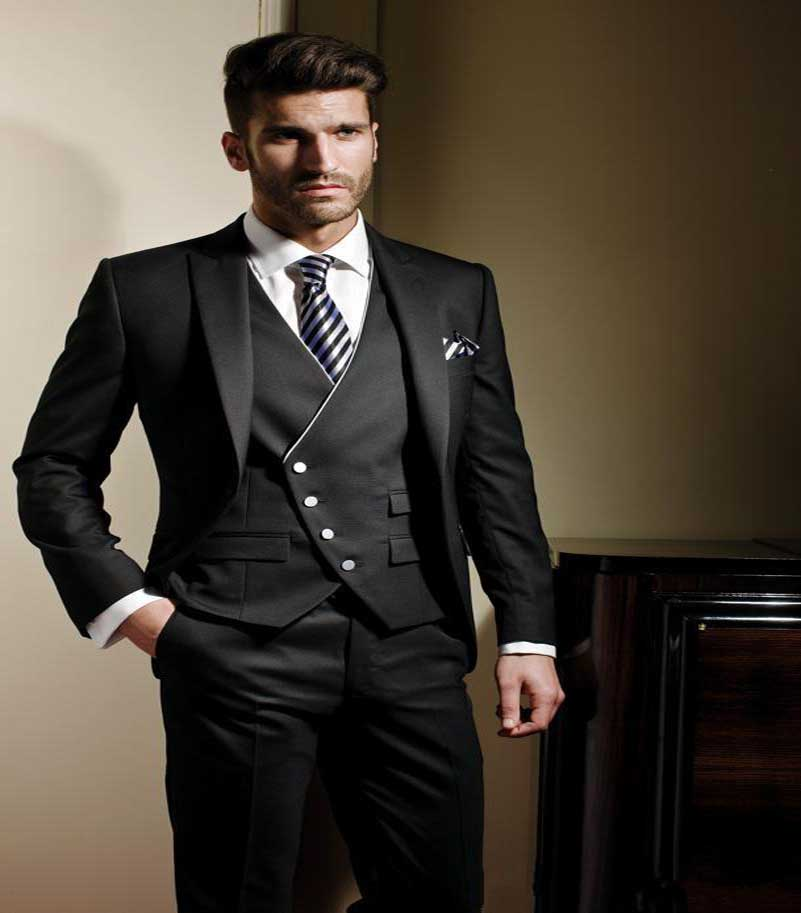 Ew Design 2016 Groom Tuxedos Slim Black Handsome Dress