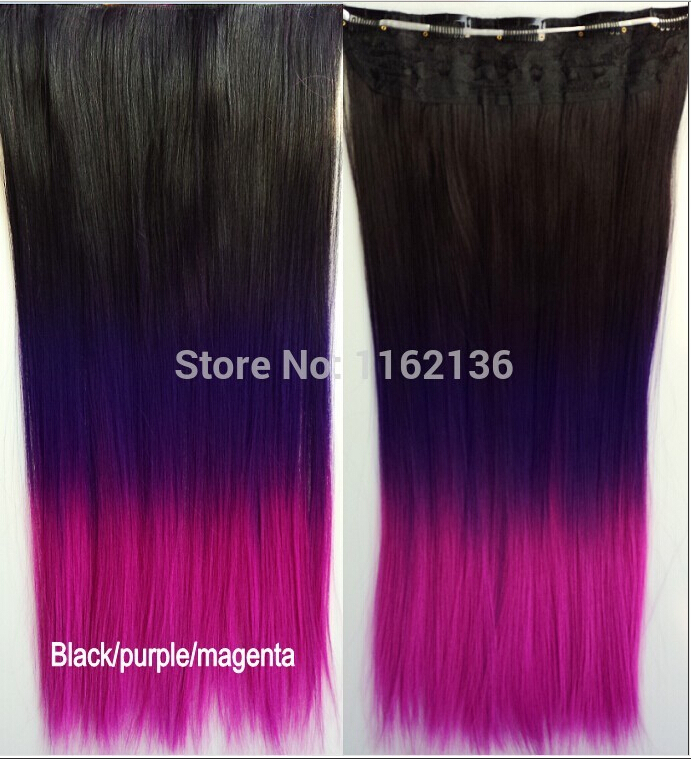 2015 top fashion women colored ombre hair clip in hair