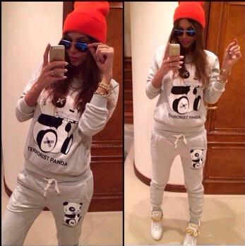 2015 fashion sport suit women brand Long sleeve cotton Panda hoodies Sweatshirt +Pants women sportswear clothing set(China (Mainland))