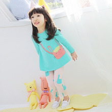 2016 autumn small cat girls clothing baby child long-sleeve T-shirt legging set kids suits for girls free shipping