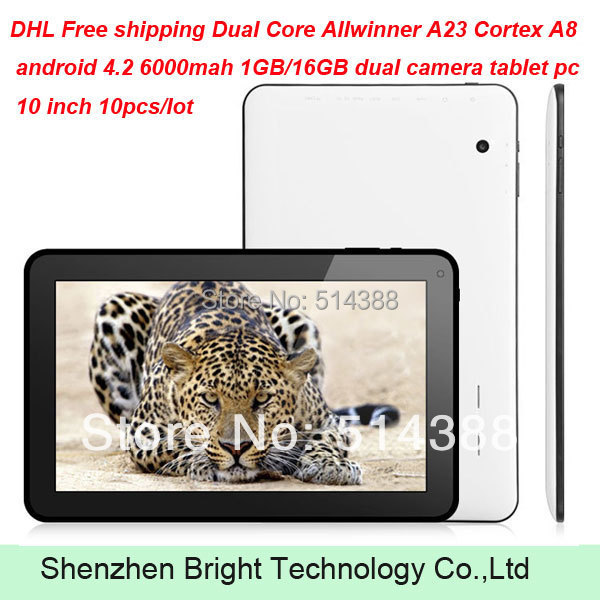 DHL Free shipping Dual Core Allwinner A23 Cortex A8 android 4.2 6000mah 1GB/16GB dual camera tablet pc 10 inch 10pcs/lot(China (Mainland))