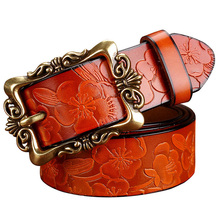 2015 New Fashion Wide Genuine leather belt woman vintage Floral carved Cow skin belts women Top quality strap female for jeans(China (Mainland))