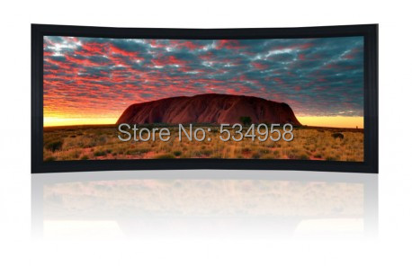 133 Inch 2.35:1 Curved Cinemascope Fixed Frame Screen with Black Velvet 8Cm Frame(China (Mainland))
