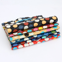 Colorful Circle Faux Leather Fabric ,PU Glitter Elastic Leopard Leather PU Artificial Leather for sewing Material DIY Leather(China (Mainland))