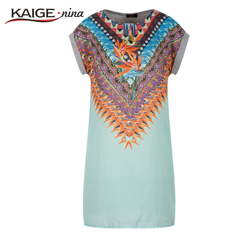 Summer Style 2015 Casual Dress t shirt dress Plus Size Women's Clothing Tropical Floral Print 100% Cotton tshirt dress vestidos(China (Mainland))
