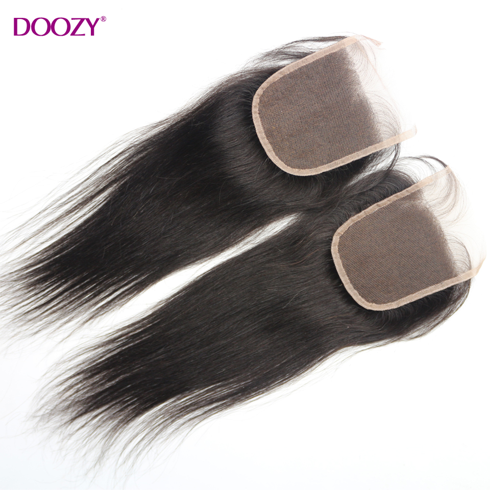 Doozy 8A malaysian straight lace closure bleached knots free middle 3 part virgin human hair lace closures<br><br>Aliexpress