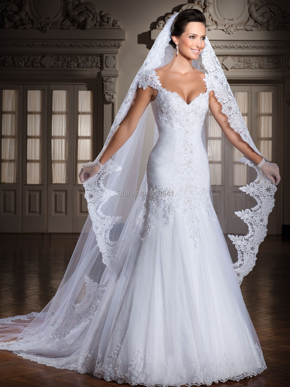 buy elegant 2015 mermaid wedding dress v neck cap sleeves lace bridal
