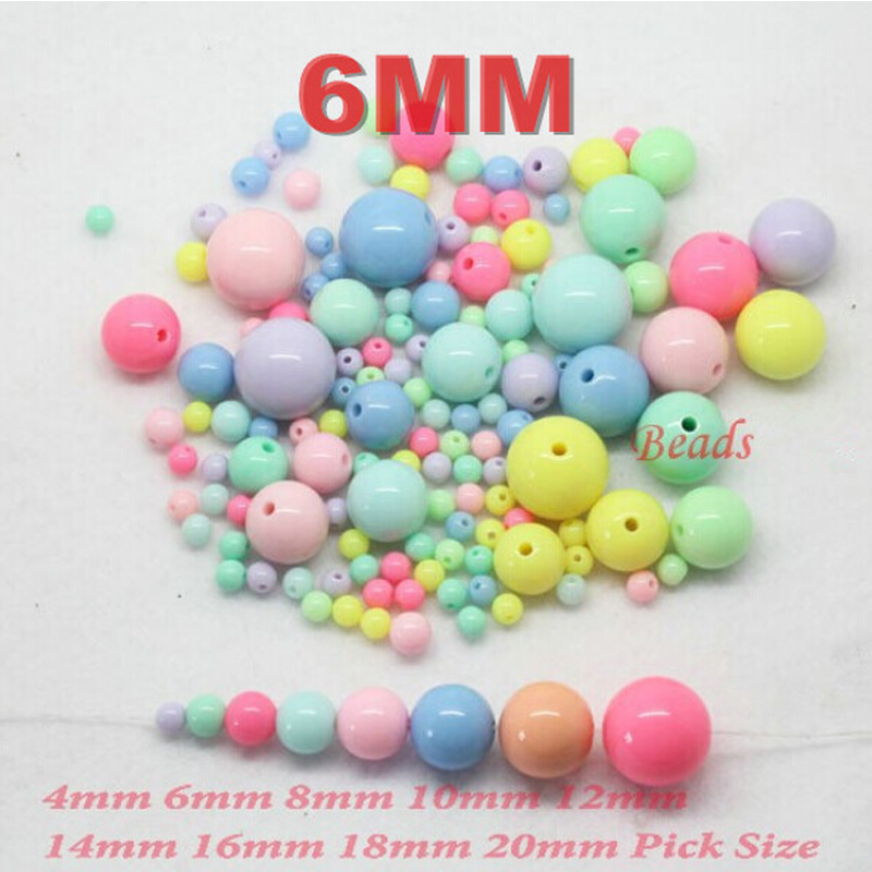 AAA Round Mixed beads Gumball Bubblegum Acrylic Beads Spacer Pick Size 4.6.8.10.12.14.16.18 20mm - Yiwu NO.2 store