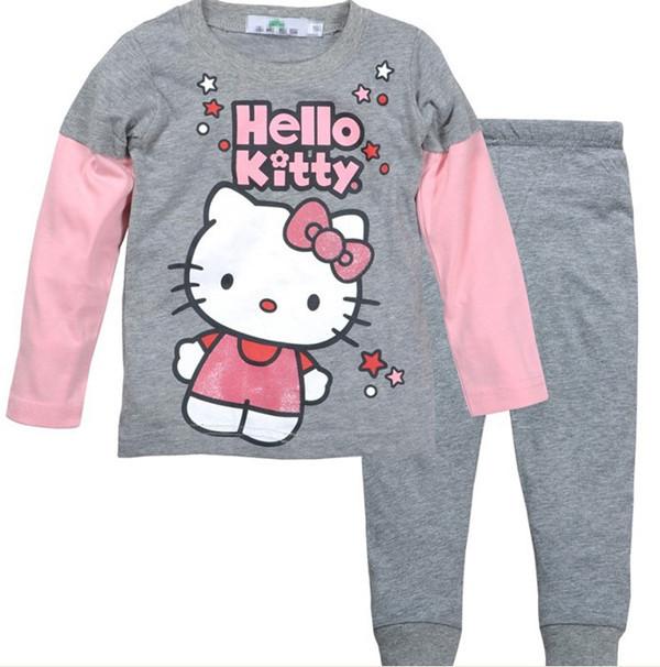 Hello kitty girl cartoon clothing set kids clothes sets children 2 piece suit long sleeve Shirt +pants child homewear tracksuit(China (Mainland))