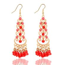 Bohemia Plastic Beads Drop Earring Alloy Plated Gold Nice Acrylic Dangle Earrings Fashion Design Trendy Jewelry For Women CS11(China (Mainland))