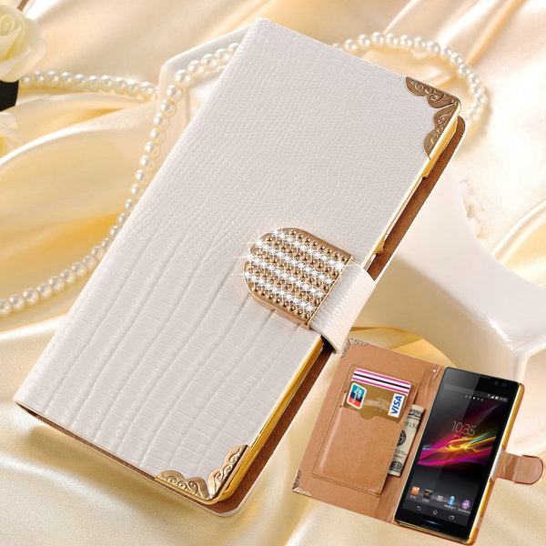 Luxury Wallet Shining Crystal PU Leather Case for SONY Xperia C S39H C2305 Bling Rhinestone Buckle Flip Phone Bag Cover(China (Mainland))