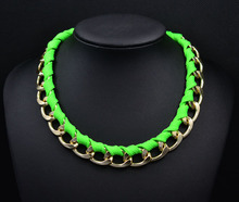 New fashion jewelry Neon color alloy rope weave Statement chain link choker Necklaces for Women girl ladies' Gift N1496