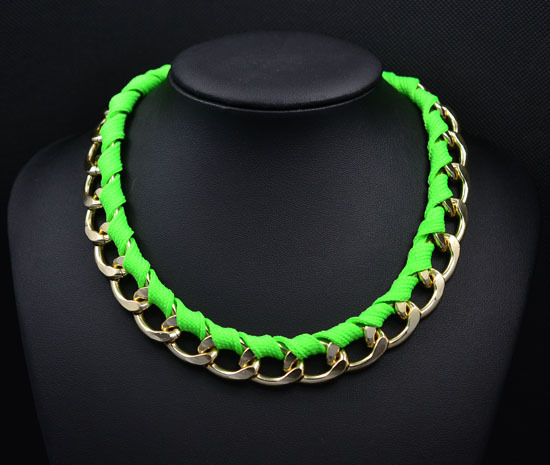 New fashion jewelry Neon color alloy rope weave Statement chain link choker Necklaces for Women girl ladies' Gift N1496(China (Mainland))