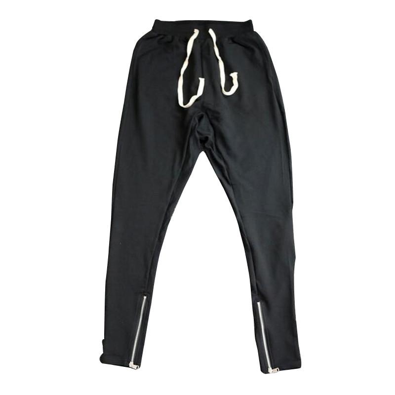 Hi-Street Mens Drop Crotch Joggers Drawstring Elastic Waist Hip Hop Harem Pants Ankle Zipper Jogger Pants Sweatpants LQ088(China (Mainland))