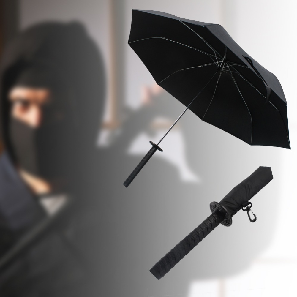 Fashion Folding Samurai Umbrella Japanese Ninja Dagger Collapsible Sword Katana Foldable Sun/Rain Creative Three Folding Parasol(China (Mainland))