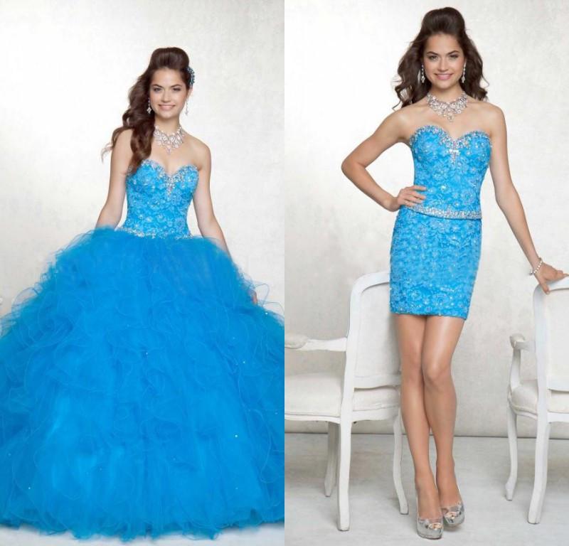 Vestido Debutante Azul 2 em 1