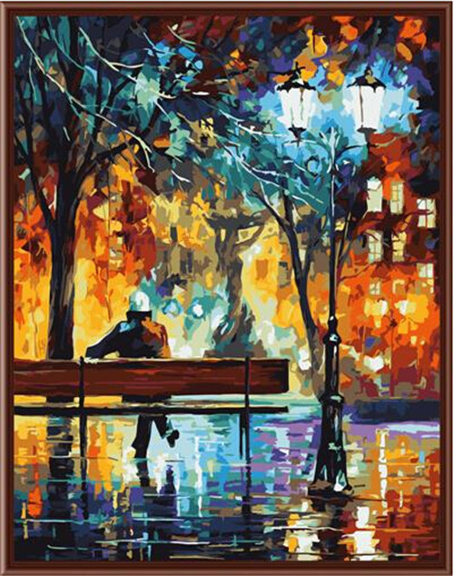 40x50cm framed digital oil painting by numbers diy home decoration craft paint on canvas unique gift picture tree night G359(China (Mainland))