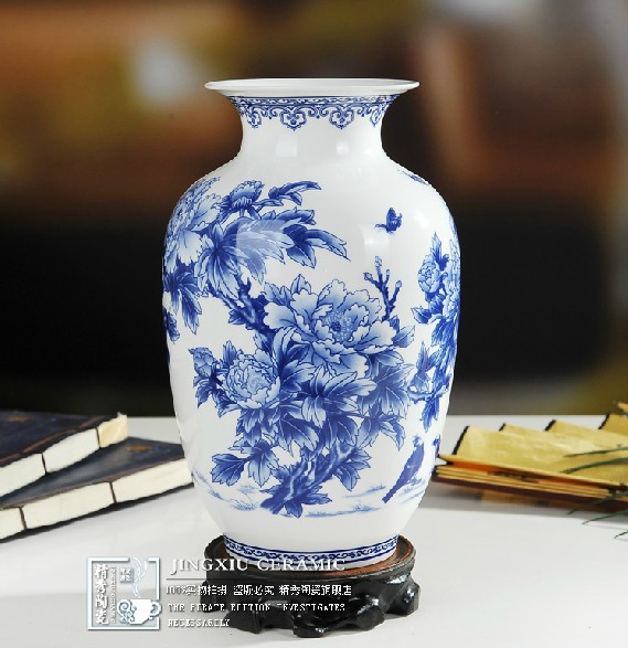2014 New Rushed China Antique Sent To The Base Jingdezhen Porcelain Glaze Vase Peony Flowers And Birds Stylish Home Furnishings(China (Mainland))
