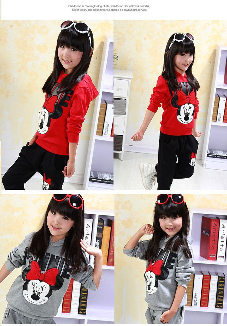 HOT! 2016 baby girls clothing sets cartoon minnie mouse winter children's wear cotton casual tracksuits kids clothes sports suit