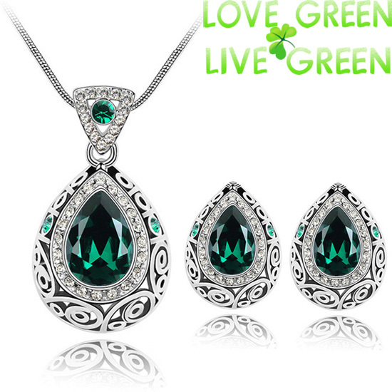 2015 fashion wedding bridal jewelry sets austrian crystal rhinestones queen water drop pendant necklace earrings set 84191(China (Mainland))