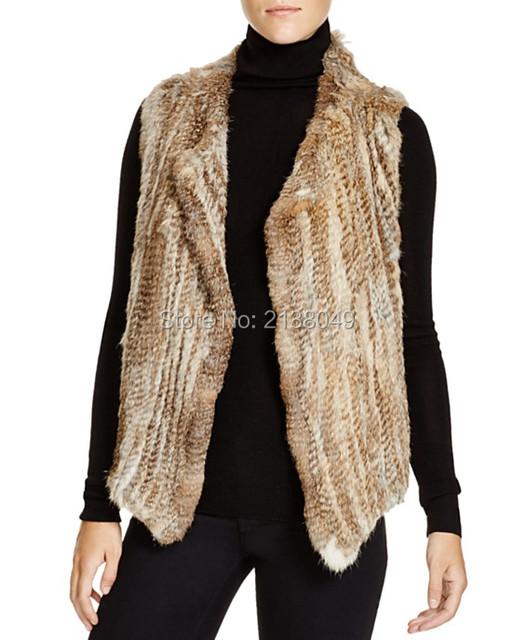 Fv026 китай завод супер качество женщины одежды / ручной вязки настоящее кролика меховой жилет