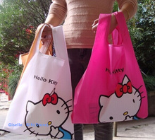 Kawaii 34*38CM Approx. Hello Kitty Women Outdoor Handbag ; Reusable Shopping BAG Foldable Storage Shoulder Satchel Bag Pouch(China (Mainland))