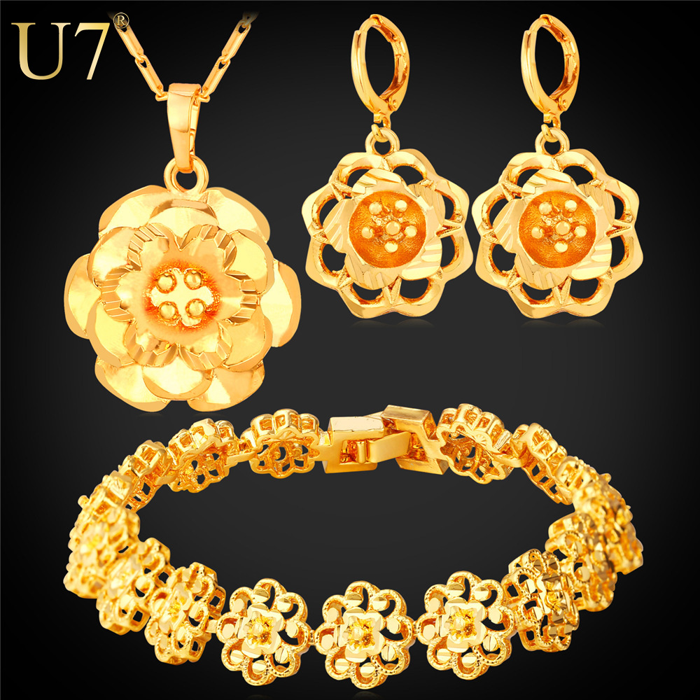 Gold Plated Big Flower Jewelry Set For Women Wedding Accessories Platinum Plated New Trendy Wedding Jewelry Sets For Brides S774