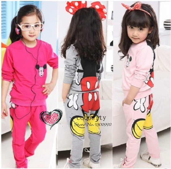 Free shipping Kids/girls clothing sets children's suit shirt+pants 2pcs autumn models girls sweater suit new pajamas(China (Mainland))