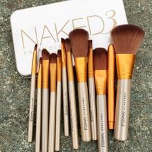 12PCS Professional Cosmetic MakeUp Brushes Eyebrown Eyeshadow Mascara Lip Brushes Handle Nylon Make up Brush + Bag