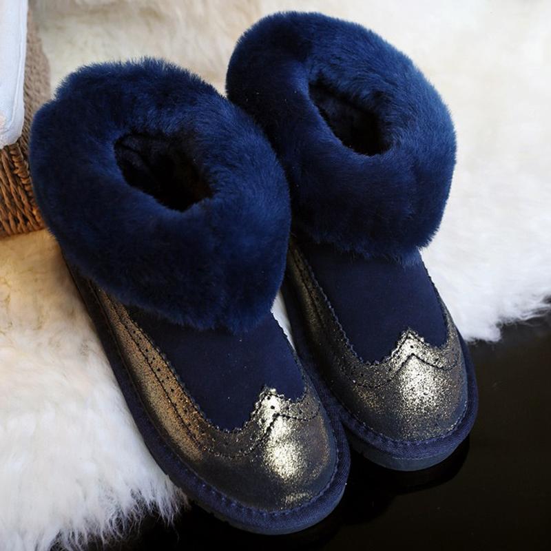 New Fashion Bullock shoes Handmade super warm Genuine sheepskin winter boots women,Casual British style Snow boots for women(China (Mainland))