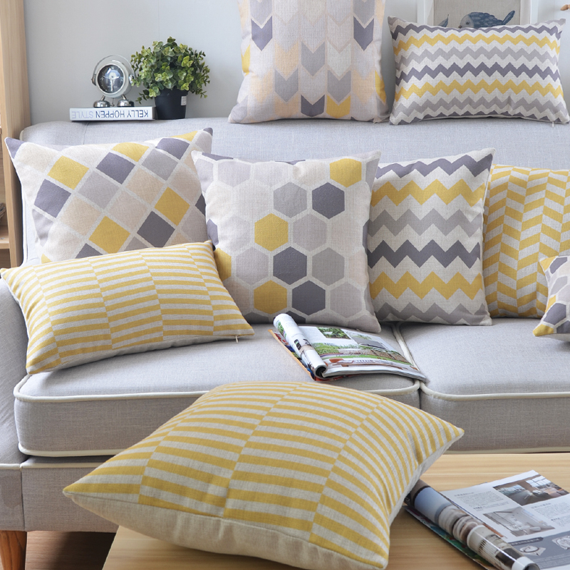 Wholesales linen pillow cover yellow grey cushion cover - Cojines modernos para sofas ...