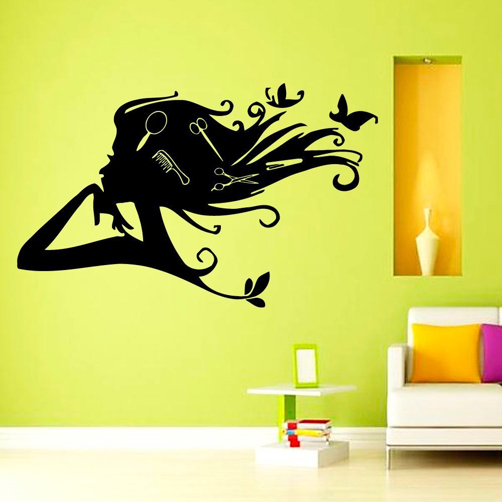 hair salon wall vinyl decal girl with butterfly combs in. Black Bedroom Furniture Sets. Home Design Ideas
