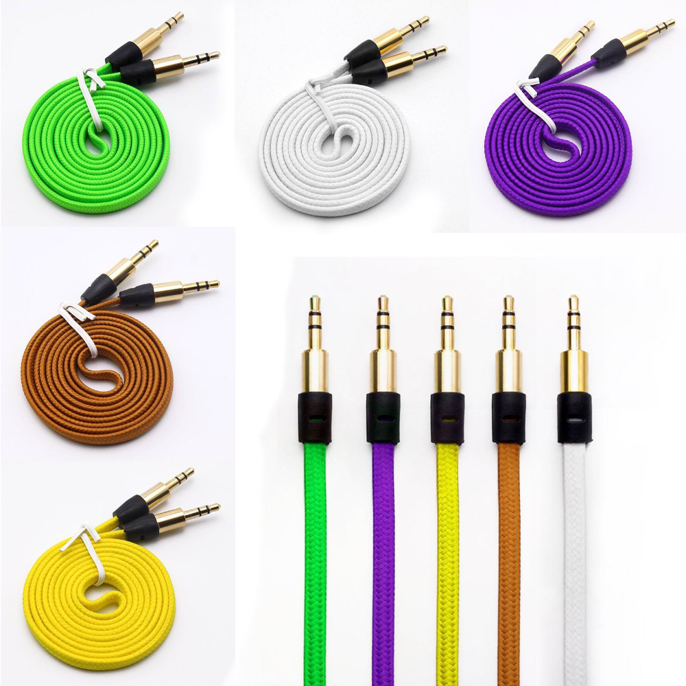 1M/3FT Strong Braided Fabric Noodle 3.5MM Stereo Jacks Male to Male Gold Plated Audio Cable AUX Auxiliary Cord free shipping(China (Mainland))
