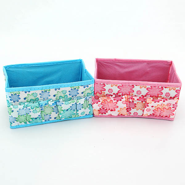 Brand New 1pcs/lot Flowers Woven Cosmetic Storage Box Multicolor Gift For Family(China (Mainland))
