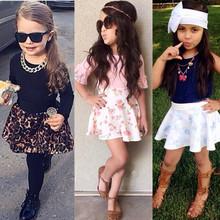 2015 New Child clothing Girl fashion Clothing set Kids vest t shirt skirt set Girls Cotton